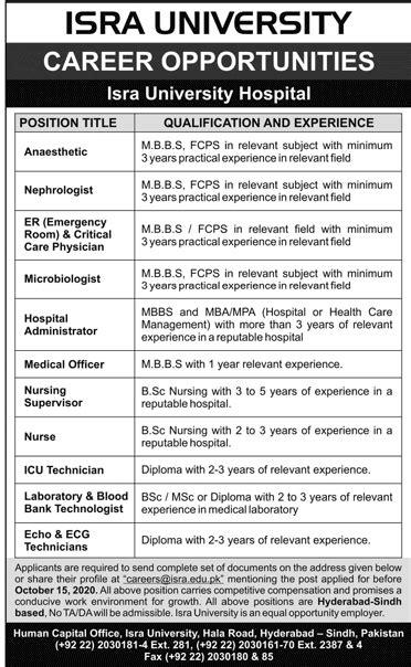 Isra University Hospital Jobs 2020 Hyderabad Advertisement