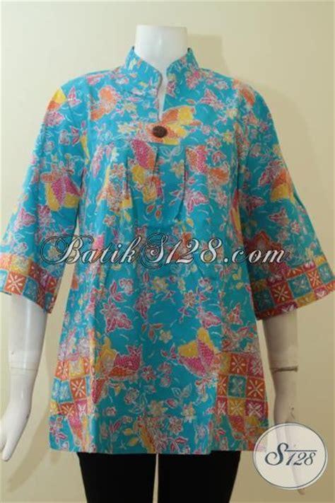 Atasan Jawa Shanghai baju batik atasan wanita warna biru bagus kerah shanghai model simple sederhana bls2756p m