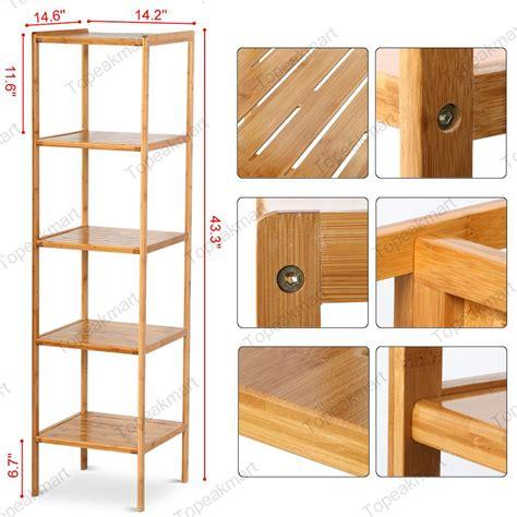 bathroom towel rack space saver bamboo shelf storage