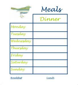 Schedule Template Pdf by Dinner Schedule Template 5 Free Word Pdf Excel