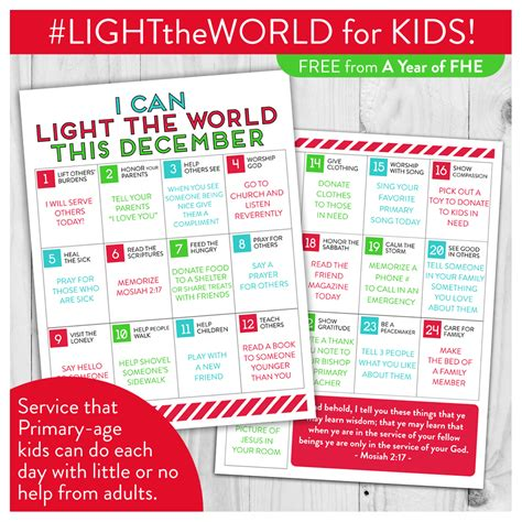 light of the world calendar a year of fhe light the world in 25 ways over 25 days