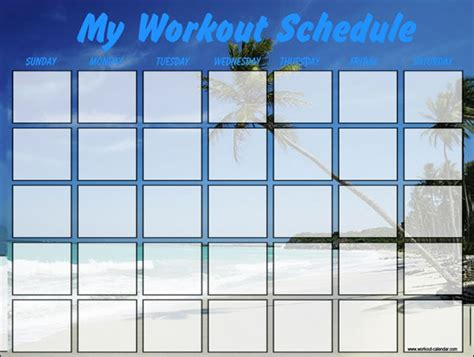workout calendar template 7 free excel word documents
