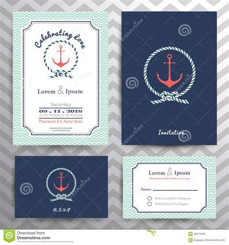 card template sets nautical wedding invitation and rsvp card template set