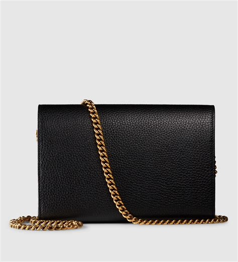 Gucci Marmont Wallet On Chain gucci gg marmont leather chain wallet in black lyst