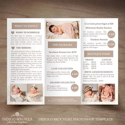 Newborn Photography Trifold Brochure Template Client Welcome Guide Flyer Photography Price List Flyer Template