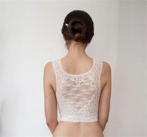 Hearts Lace Back Bra Ungu back ivory lace cropped bra top bralette
