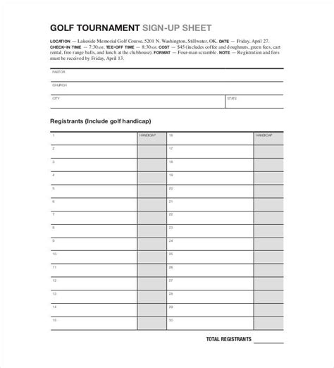 golf outing sign up sheet template sign up sheets 53 free word excel pdf documents