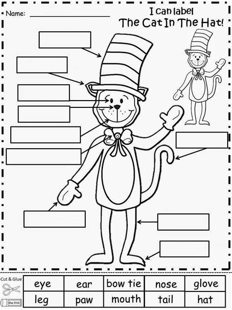 dr seuss printable activity sheets free the cat in the hat labeling activity cut and glue