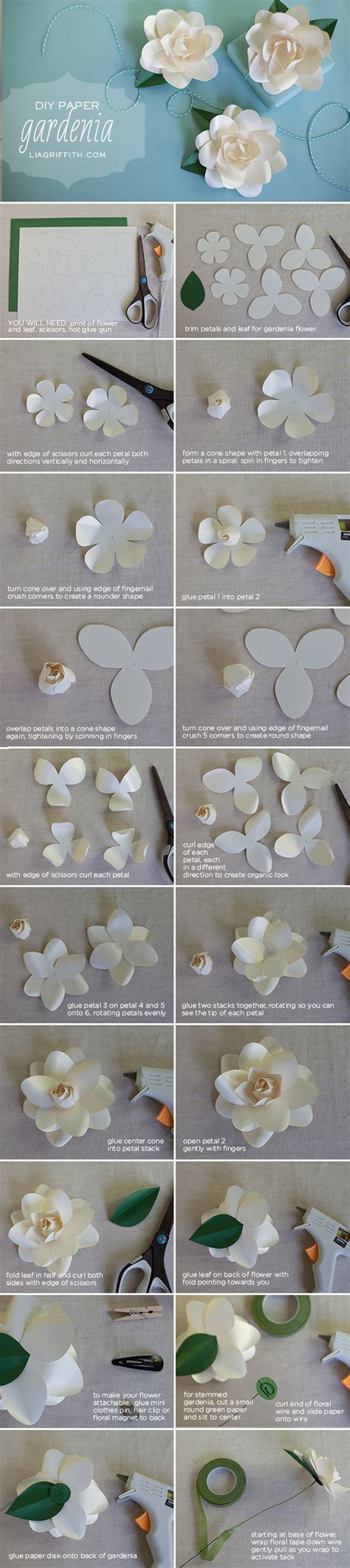 gardenia paper flower tutorial diy metallic paper gardenia lia griffith