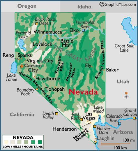 5 themes of geography nevada nevada large color map
