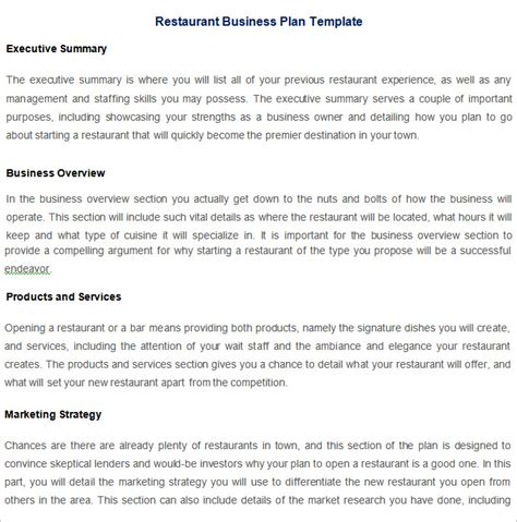 free business plan template for restaurant restaurant business plan template 7 free pdf word