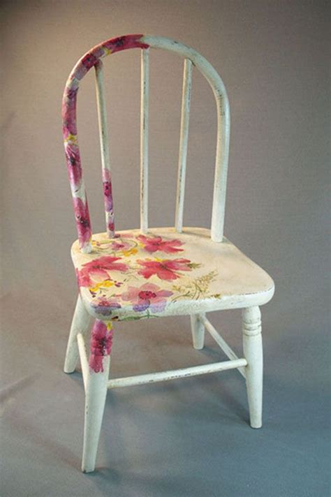 Decoupage Chair - antique wooden child s chair with decoupage flowers and
