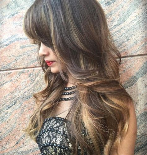 brunette hairstyles with highlights and bangs 40 cute and effortless long layered haircuts with bangs