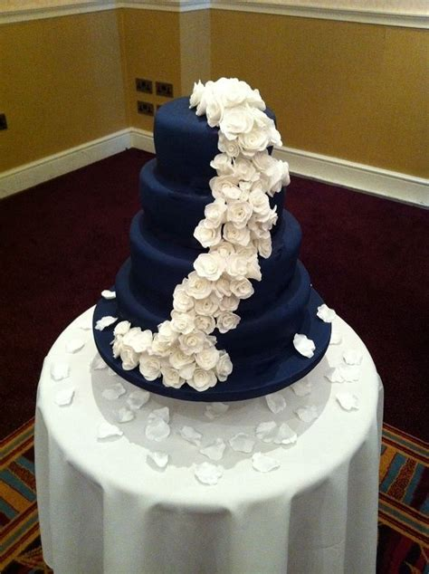 Wedding Cake Navy by Navy And White Wedding Cakes Tier Navy Wedding Cake With