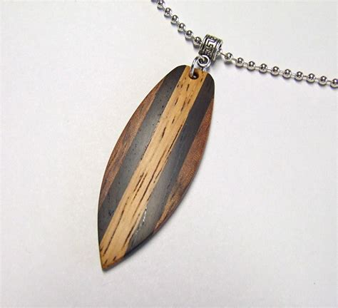 Handmade Wooden Necklaces - custom wood necklace handmade mini surfboard shaped