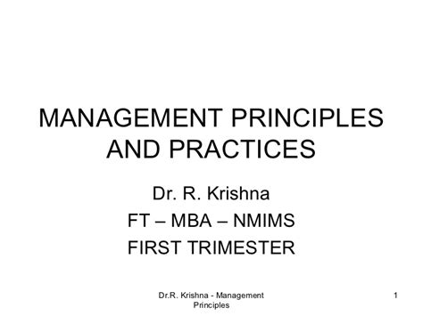 Mba 101 Principles And Practice Of Management by Management Principles Aand Practices