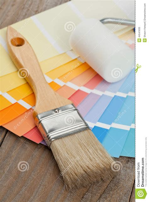 color chart guide with brush and paint roller stock photo image 44541633