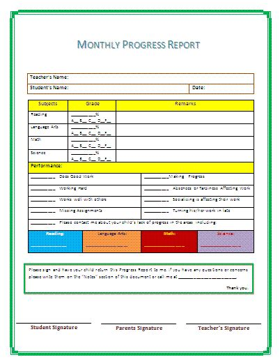 progress report template helloalive