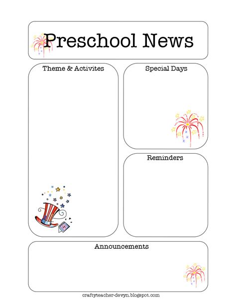 free newsletter templates for preschool the crafty july preschool newsletter template