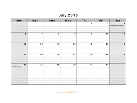 printable daily calendar july 2015 july 2015 calendar blank printable calendar template in