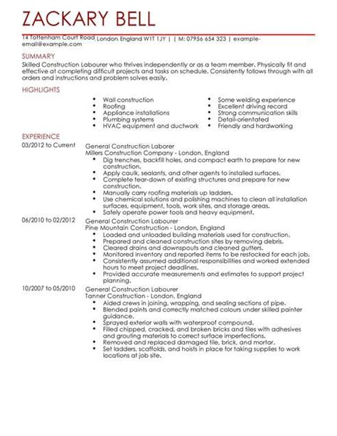 labourer resume exles exles of resumes
