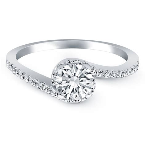 anybody a white gold halo ring with wedding band