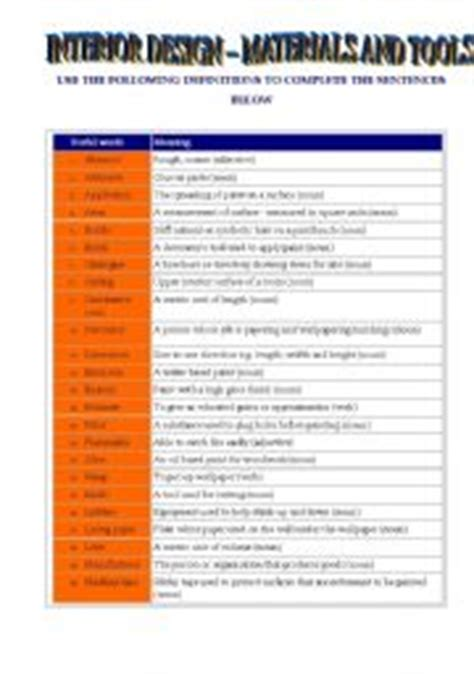 interior design terminology english teaching worksheets at home