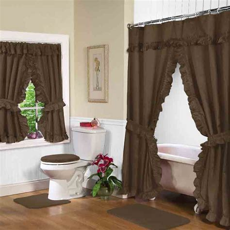 shower curtain with window chocolate double swag shower curtain