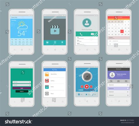 mobile app layout template white smartphones mobile ui design template stock vector