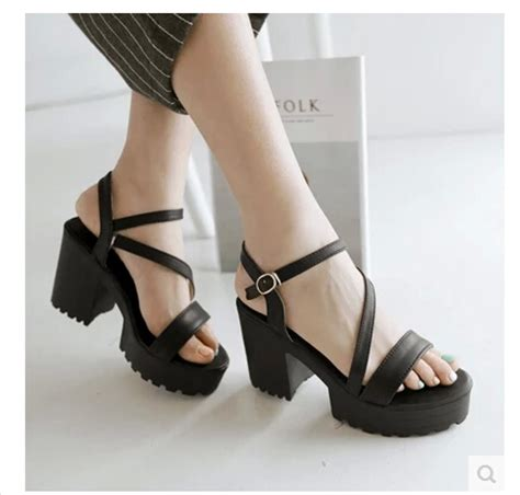 high heels for heavy summer shoes rome retro style comfortable square buckle
