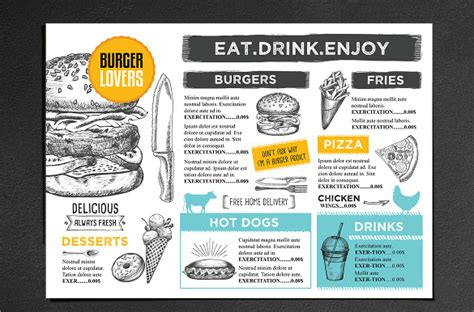 burger menu template cafe menu template 18 documents in vector eps