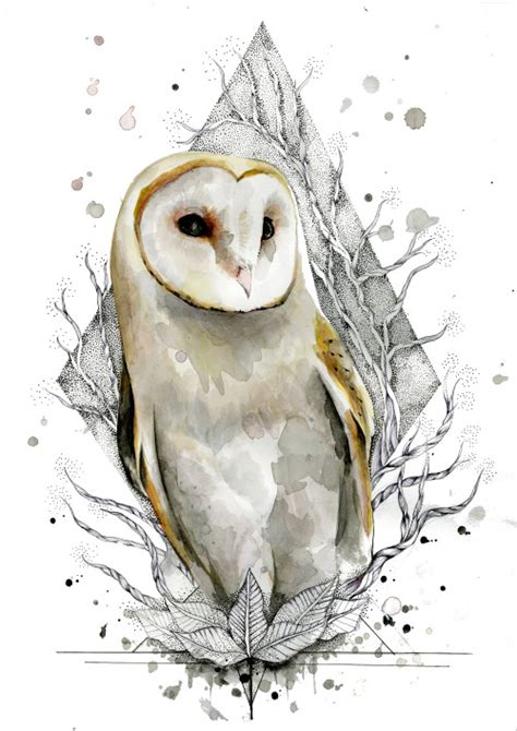 white watercolor owl on dotwork rhombus background tattoo