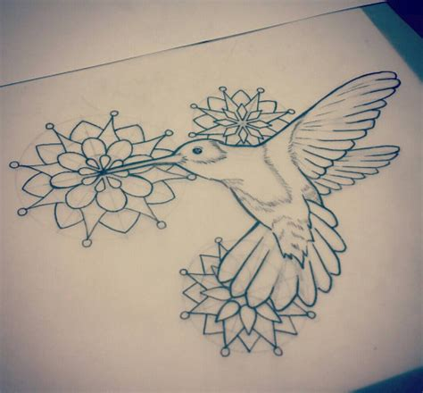 super uncolored hummingbird flying on mandala flowers