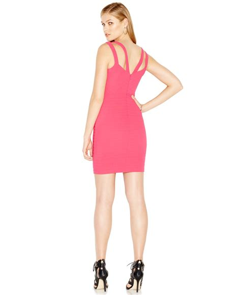Guess Dress Bodycon lyst guess v neck bodycon dress in