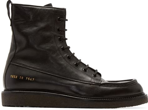 by common projects boots lyst common projects black leather mechanics boots in