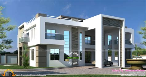 flat roof arabian house plan kerala home design and