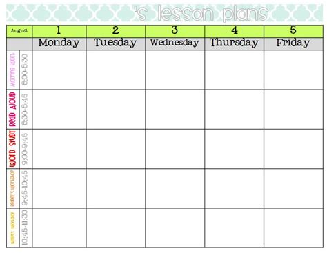 weekly lesson plan template google search classroom