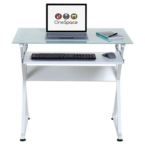 white computer desk with keyboard tray onespace 50 jn1201 ultramodern glass computer desk with
