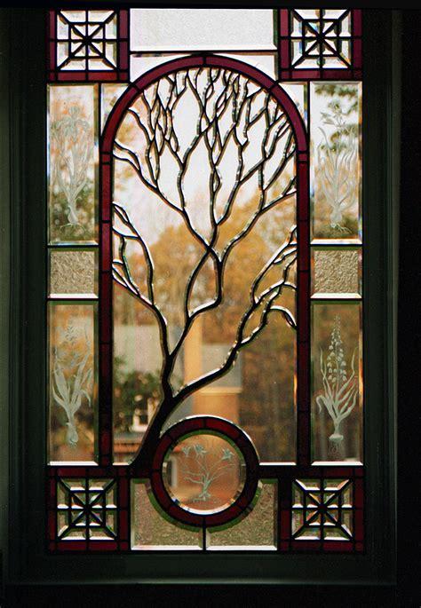 Wayne Cain » Sculpted Tree Beveled Glass Window Midlothian