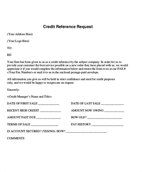 Request Credit Reference Letter Template sle reference request letters 8 exles in pdf word