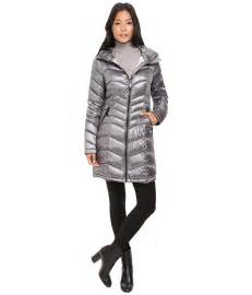 Calvin klein long hooded packable down with waist detail zappos com