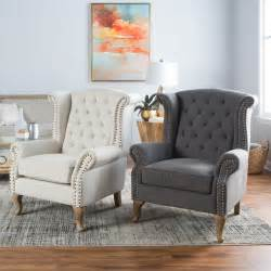 Accent Chairs In Living Room Belham Living Tatum Tufted Arm Chair With Nailheads Accent Chairs At Hayneedle