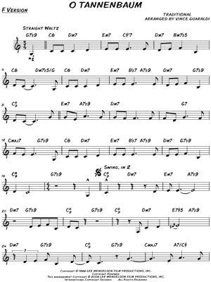 o tannenbaum lyrics and chords vince guaraldi trio quot o tannenbaum quot sheet print