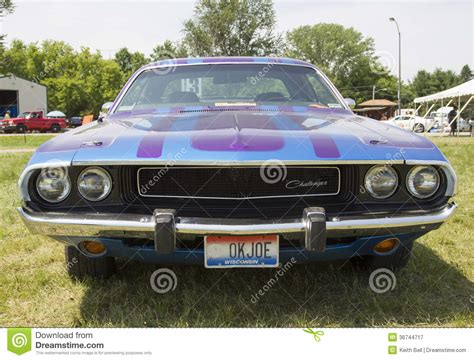 dodge challenger front view 1970 purple dodge challenger front view editorial