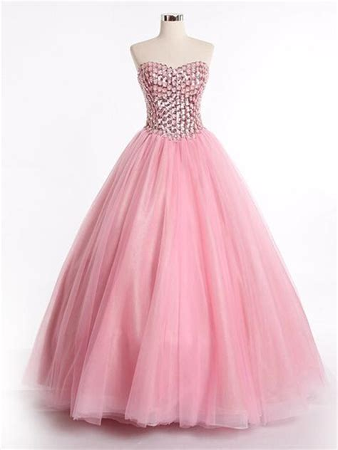 Strapless Pink Ball Gown Evening  Ee  Dress Ee   With Sparkly Bodice