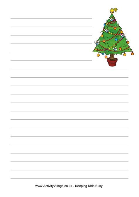 printable paper christmas tree 6 best images of christmas writing paper template