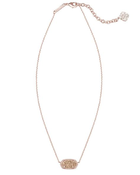 Elisa Pendant Necklace in Rose Gold Drusy from Kendra Scott