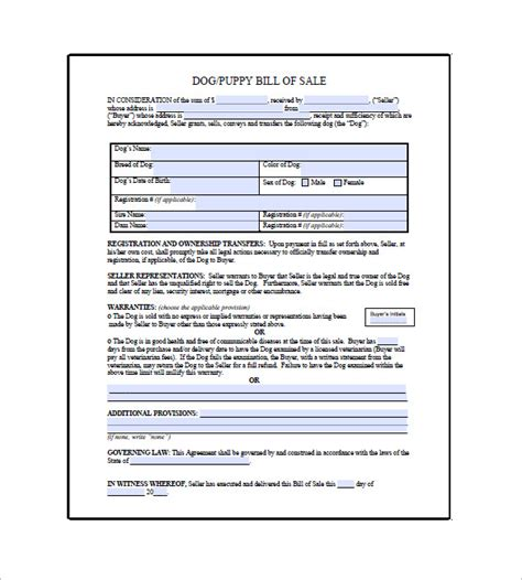 bill of sale agreement template free printable puppy contract breeds picture