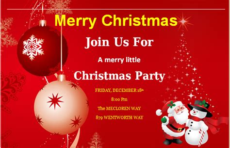 christmas invite template microsoft word ms word merry invitation cards word excel templates
