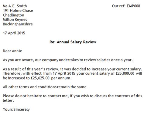salary review template doc sle letter salary increase sle increment pay